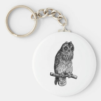 Short Eared Owl Owls Vintage Wood Engraving Basic Round Button Key Ring