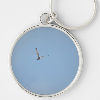 Short-eared Owl Silver-Colored Round Key Ring