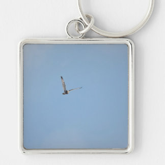 Short-eared Owl Silver-Colored Square Key Ring