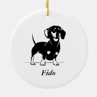 Short haired dachshund circle ornament
