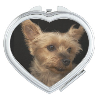 Short haired Yorkie dog looking to the right Travel Mirrors