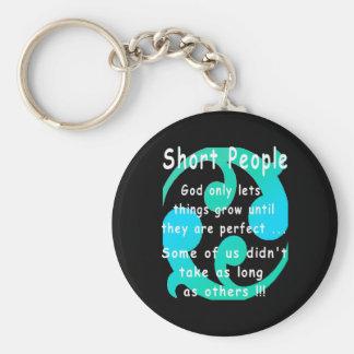 Short People Funny Revenge Design. Basic Round Button Key Ring