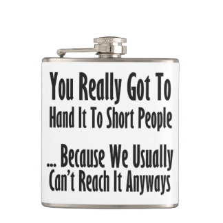 Short People Quote Hip Flask