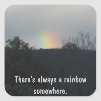 Short Rainbow Over Vineyard Square Sticker