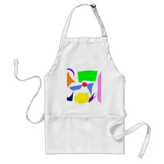 Short Small White Centered Equal Green Standard Apron