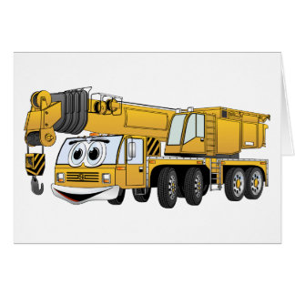 Short Yellow Cartoon Crane Card