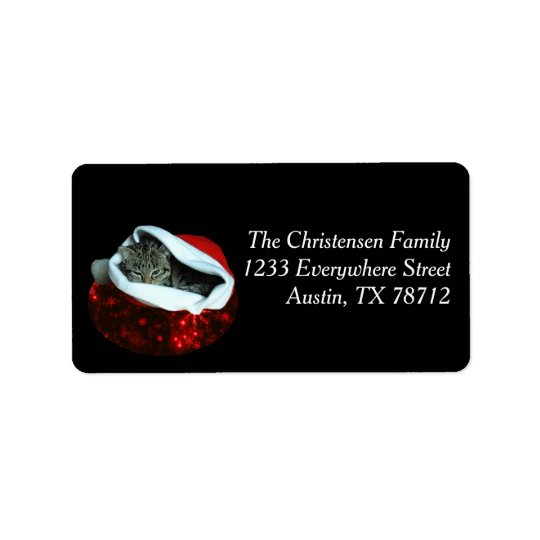Shorthair Cat in Red Stocking Christmas Labels