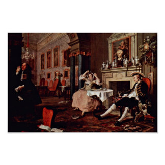 "Shortly After The Wedding "" By Hogarth William Poster"