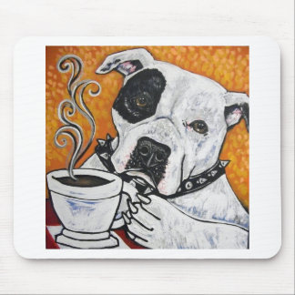 Shorty Rossi s pitbull MUSSOLINI drinking coffee Mousepads