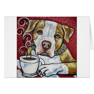 Shorty Rossi's pitbull Hercules drinking coffee Card