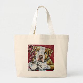 Shorty Rossi's pitbull Hercules drinking coffee Large Tote Bag