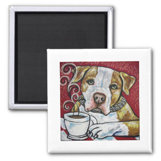 Shorty Rossi's pitbull Hercules drinking coffee Magnet
