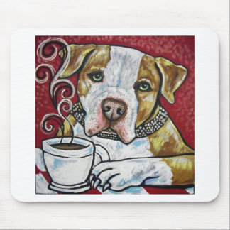 Shorty Rossi's pitbull Hercules drinking coffee Mouse Pad