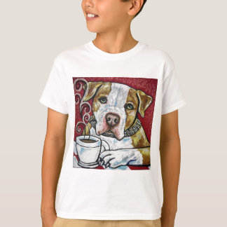 Shorty Rossi's pitbull Hercules drinking coffee T-Shirt