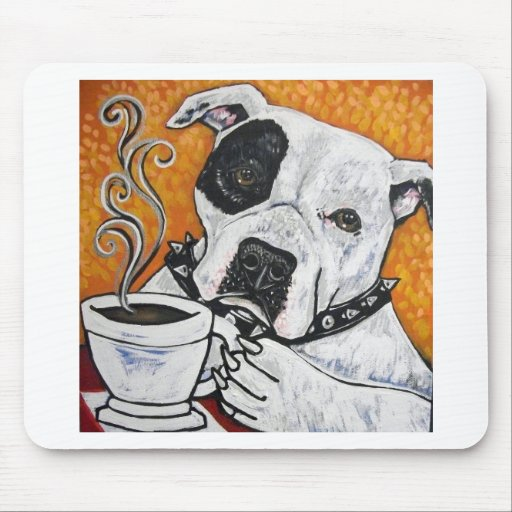 Shorty Rossi's pitbull MUSSOLINI drinking coffee Mousepads
