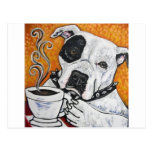 Shorty Rossi's pitbull MUSSOLINI drinking coffee Postcard