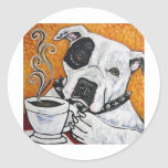 Shorty Rossi's pitbull MUSSOLINI drinking coffee Round Stickers