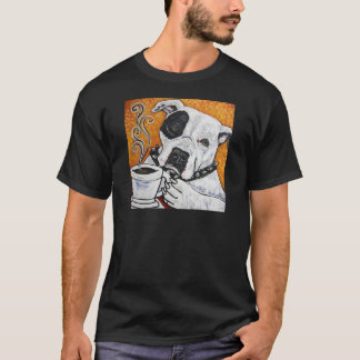 Shorty Rossi's pitbull MUSSOLINI drinking coffee T-Shirt