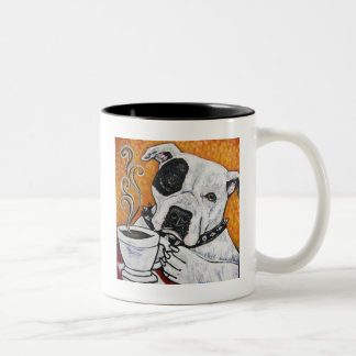 Shorty Rossi's pitbull MUSSOLINI drinking coffee Two-Tone Mug