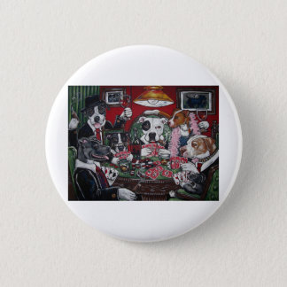 shorty's dogs playing poker 6 cm round badge