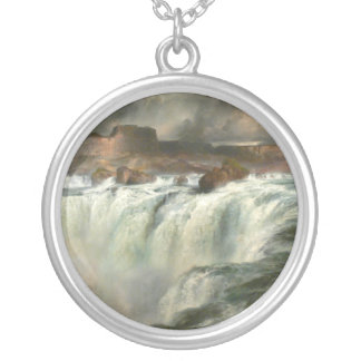Shoshone Falls on the Snake River - 1900 Round Pendant Necklace