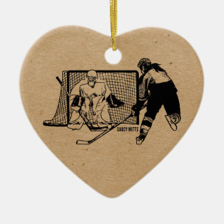 Shot On Net Hockey (female) Ceramic Heart Decoration