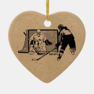 Shot On Net Hockey (female) Double-Sided Heart Ceramic Christmas Ornament
