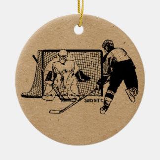 Shot on Net Hockey Round Ceramic Decoration