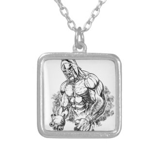 shot put gladiator silver plated necklace