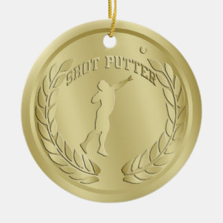 Shot Putter Gold Toned Medal Ornament