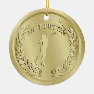 Shot Putter Gold Toned Medal Ornament