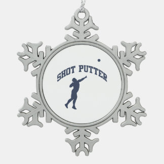 Shot Putter Pewter Snowflake Decoration