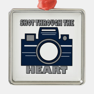 Shot Through Heart Silver-Colored Square Decoration