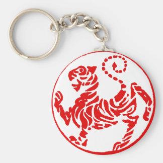 Shotokan Red Rising Sun Tiger Japanese Karate Basic Round Button Key Ring