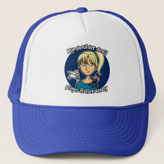 Shoulder devil plays rollerderby trucker hat