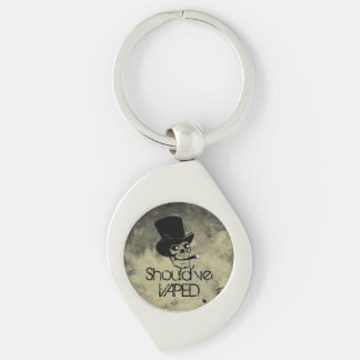 Should've Vaped Skull Silver-Colored Swirl Key Ring