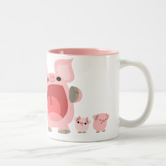 Shouting Cartoon Pigs Mug:) Two-Tone Coffee Mug