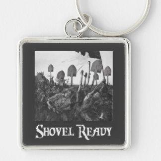 Shovel Ready Silver-Colored Square Key Ring