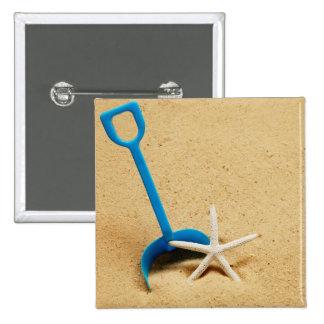 Shovel & Starfish Beach Fun 15 Cm Square Badge