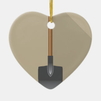Shovel Vector Illustration Ceramic Heart Decoration