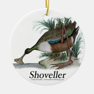 Shoveller duck, tony fernandes round ceramic decoration