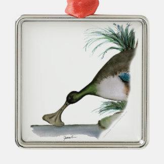 shoveller duck, tony fernandes Silver-Colored square decoration