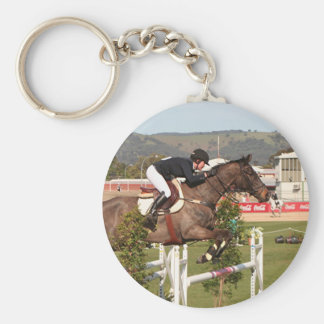 Show jumping horse and rider keychain