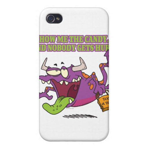 show me the candy funny halloween monster toon iPhone 4/4S covers