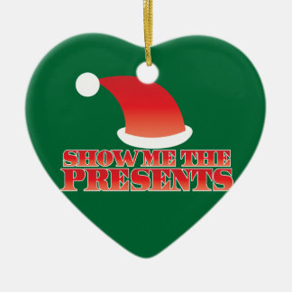 Show me the PRESENTS! with cute little santa hat Christmas Ornament