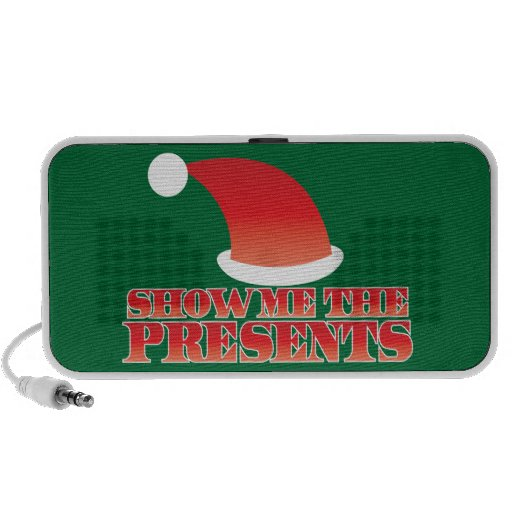 Show me the PRESENTS! with cute little santa hat Mini Speaker