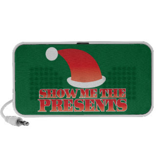 Show me the PRESENTS! with cute little santa hat Travelling Speakers