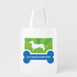 Show off my Weiner Dog Dachshund Reusable Bag