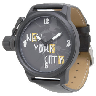 Show Protect-crown black leather NYC Wrist Watches