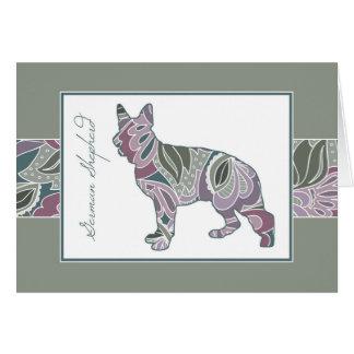 Show Ring Shepherd in Sage Blush Garden Pattern, Note Card